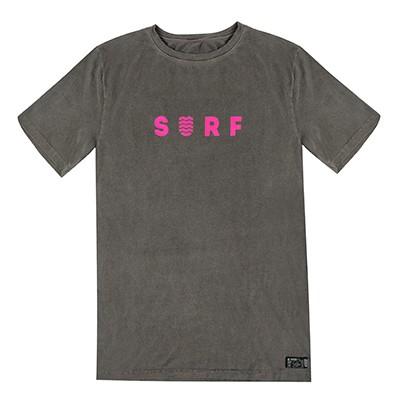 Camiseta WSS Estonada Cinza Surf Neon Pink Unissex
