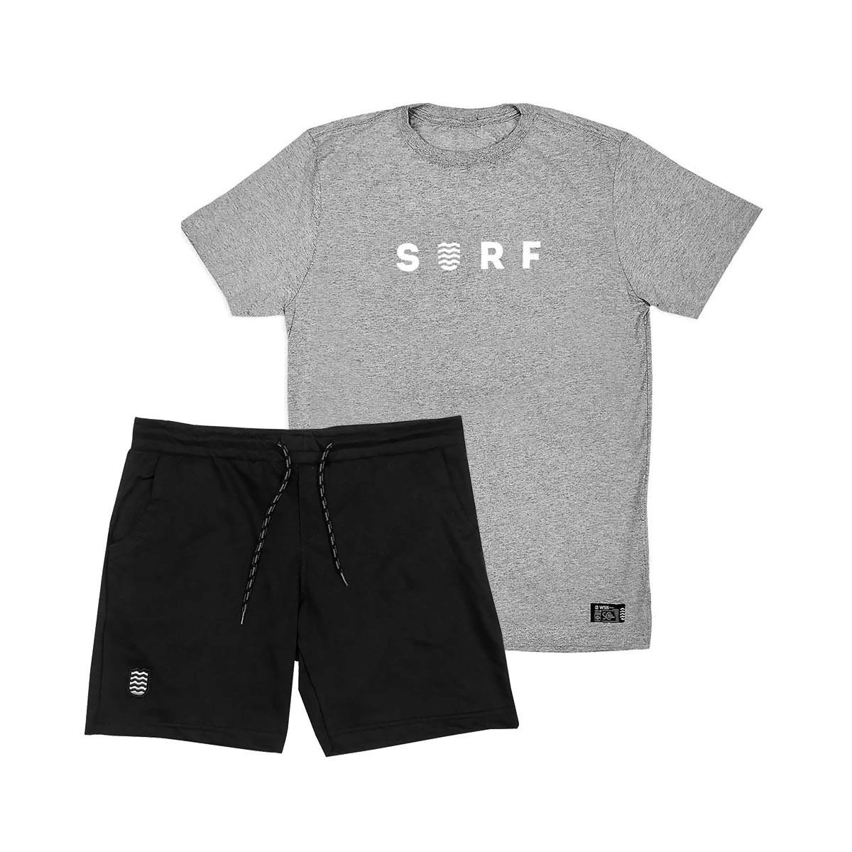 Kit Bermuda Moletom + Camiseta WSS Brasil SURF  Grey