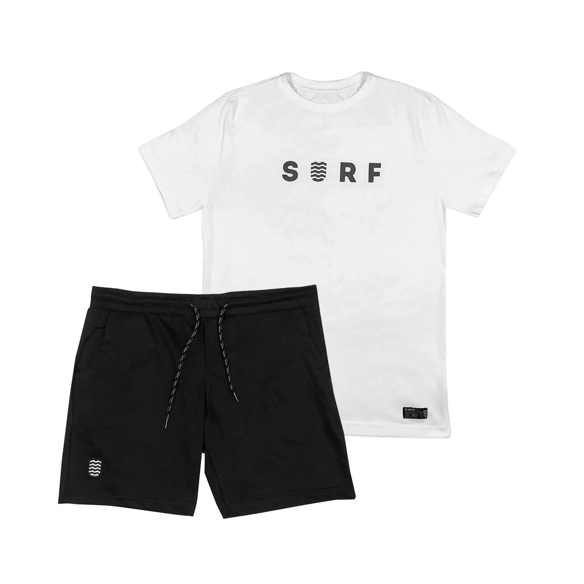 Kit Bermuda Moletom + Camiseta WSS Brasil SURF  White