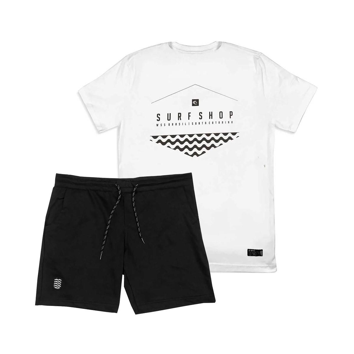 Kit Bermuda Moletom PLUS WSS + Camiseta PLUS SIZE WSS Brasil Hex Wave White