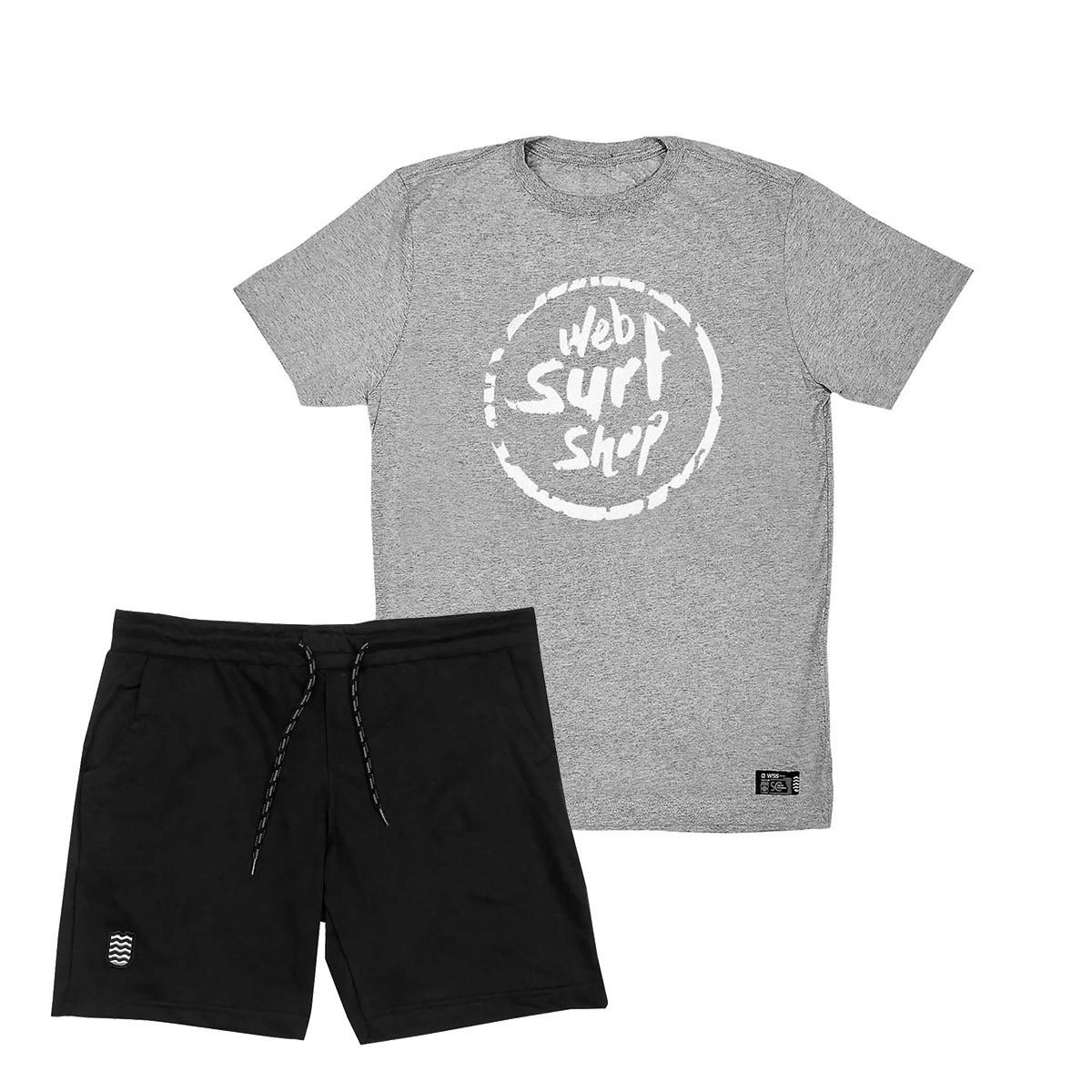Kit Bermuda Moletom Plus WSS + Camiseta Plus Size WSS Brasil  Ink Web Grey