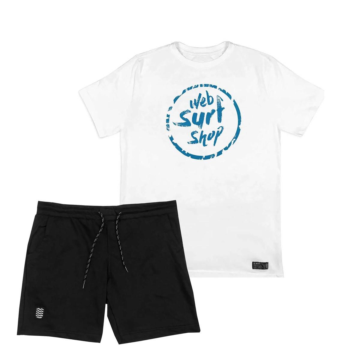 Kit Bermuda Moletom WSS PLUS + Camiseta PLUS Size WSS Brasil Ink Web Aqua