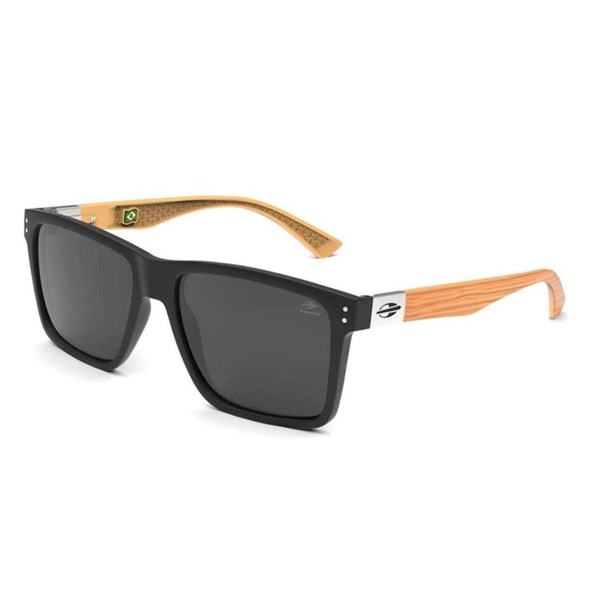 Óculos de Sol Mormaii Cairo Black Polarizado Madeira