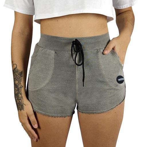 Shorts Moletom Feminino Estonado WSS Moon Gray