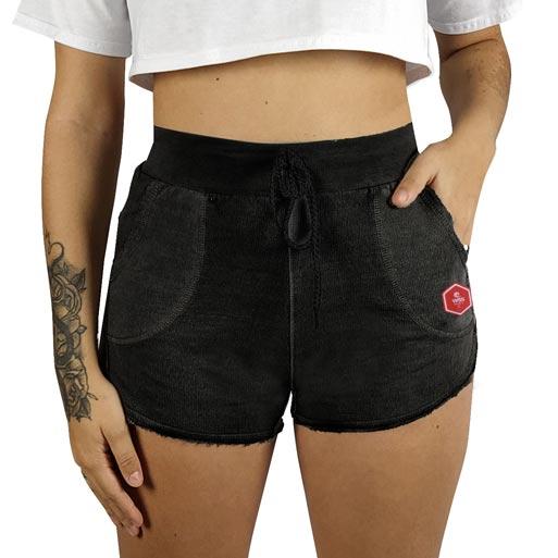 Shorts Moletom Feminino Estonado WSS Hex Colors Black