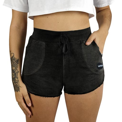 Shorts Moletom Feminino Estonado WSS Moon Black