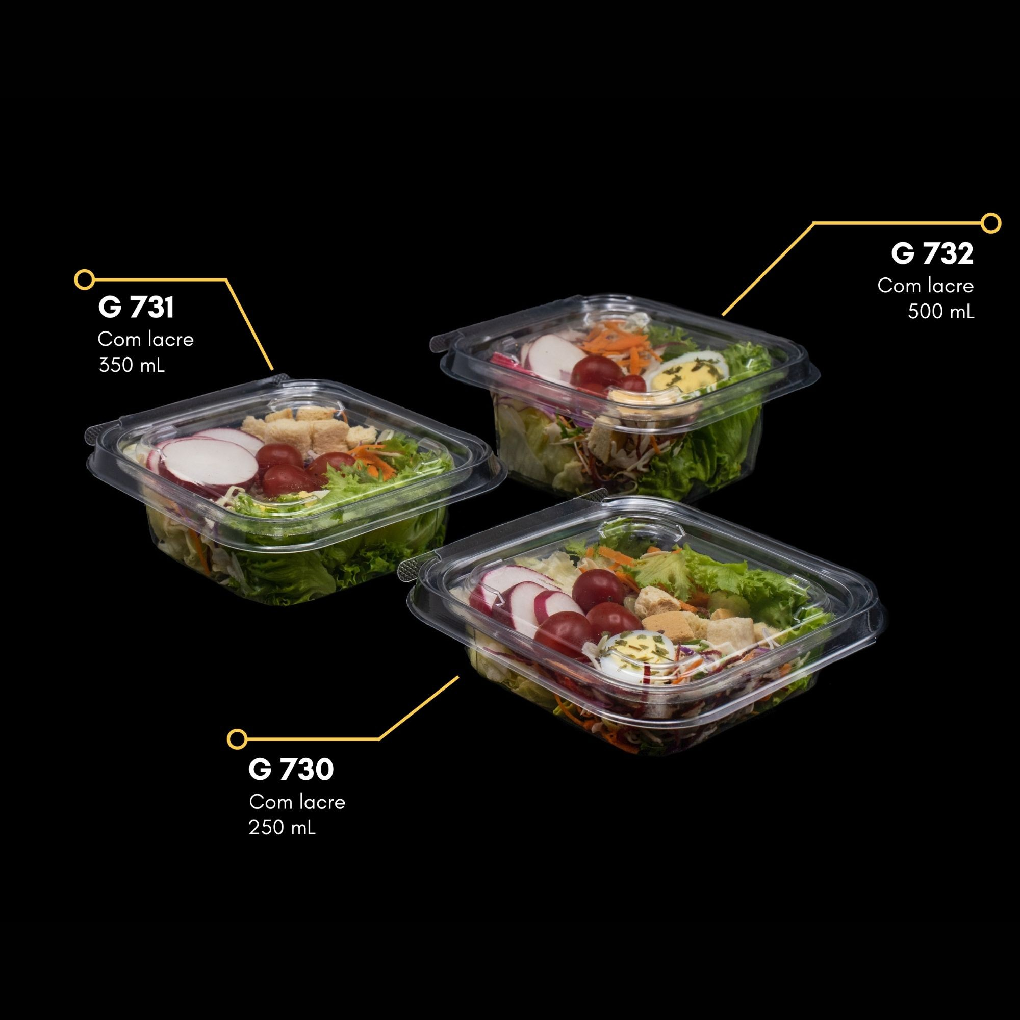 Embalagem com lacre para salada 100un - Galvanotek G730 G731 G732