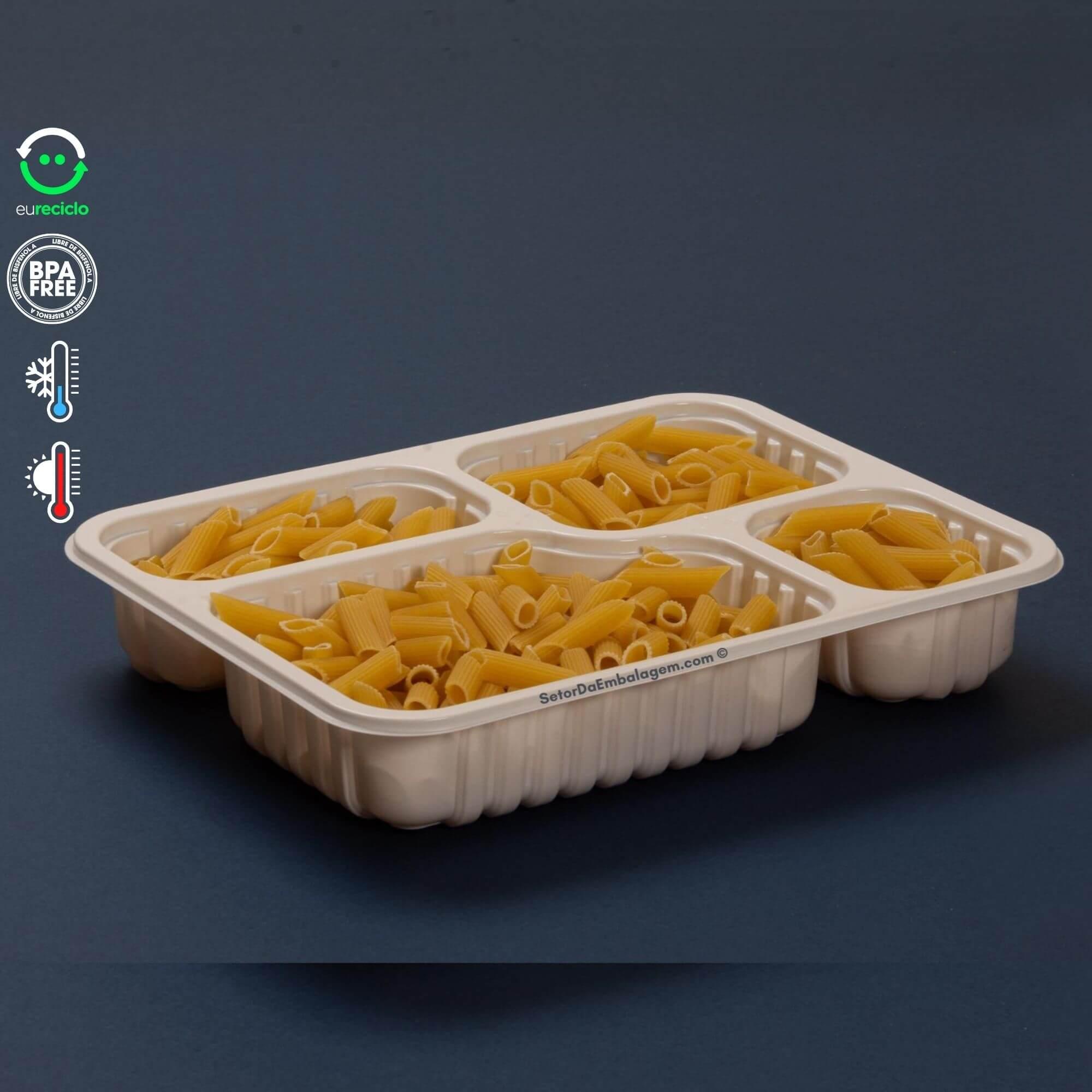 Embalagem marmita 4 divisórias - 100un - Galvanotek G324