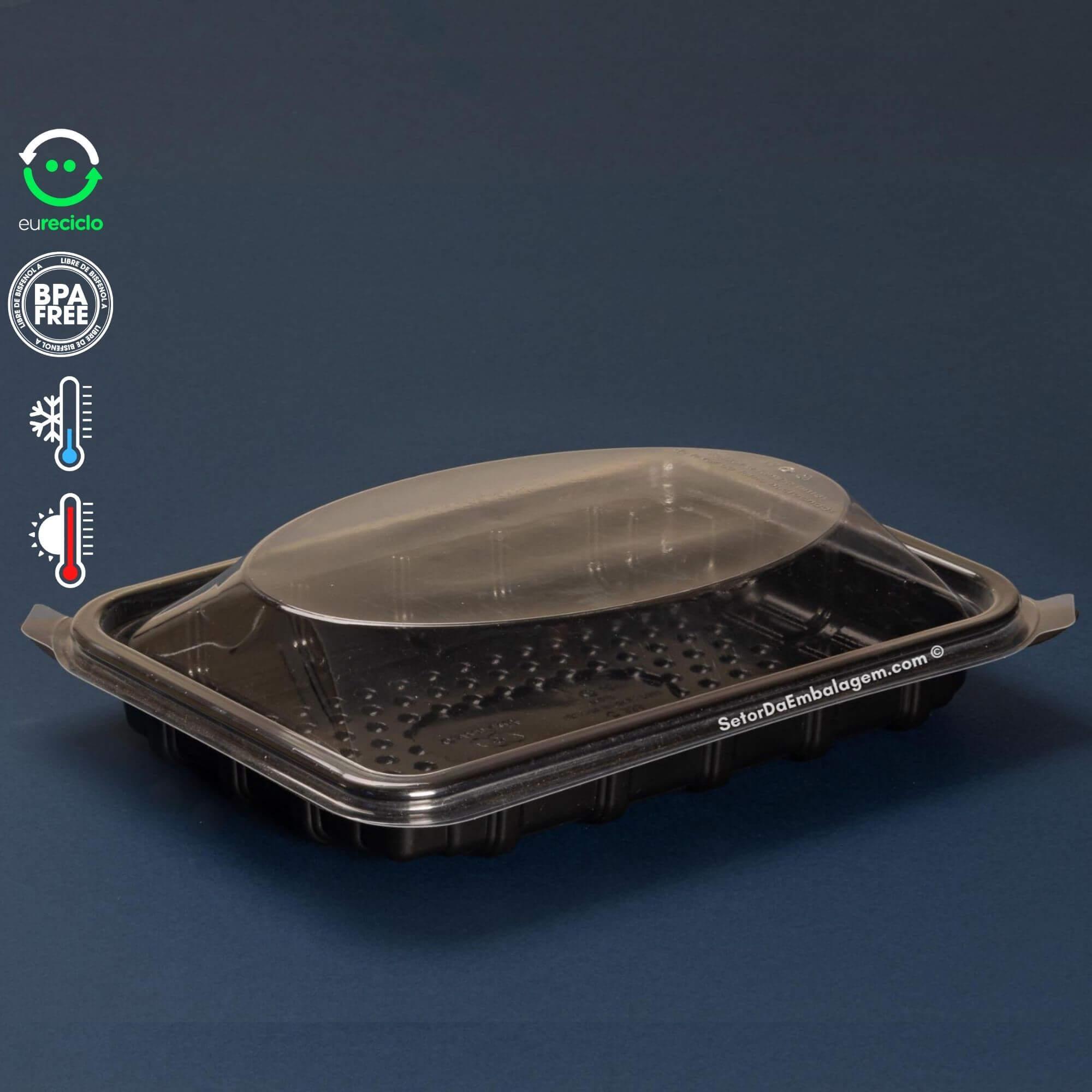 Embalagem marmita preta rasa 1000mL - 100 unidades - Galvanotek G335