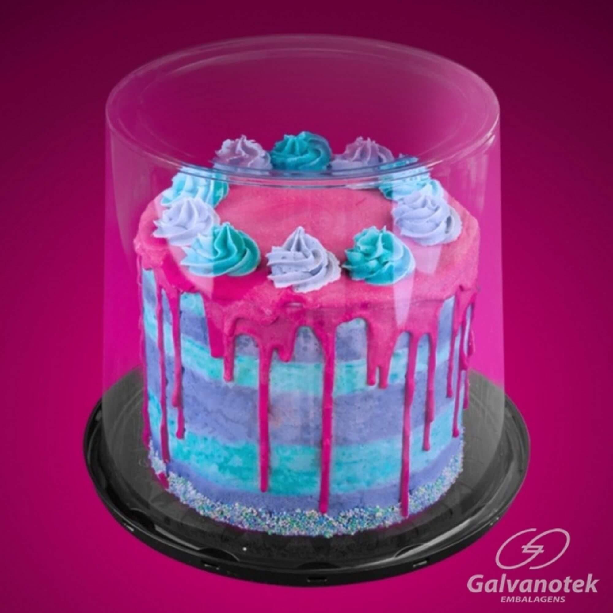 Embalagem naked cake e bolo gourmet tampa super alta 23cm G58CT Galvanotek