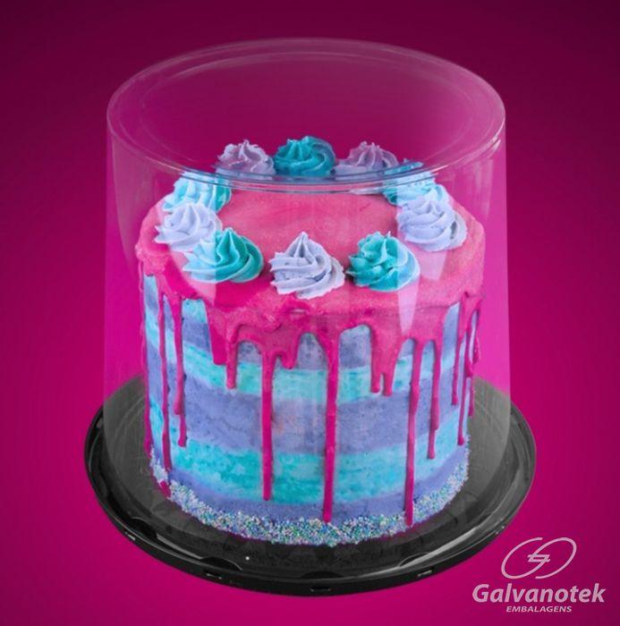 Embalagem naked cake e bolo gourmet tampa super alta 23cm - Galvanotek G58CT
