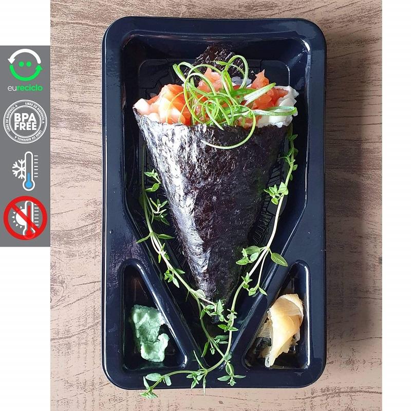 Embalagem para delivery de Temaki com divisória 100un. - Galvanotek GO908