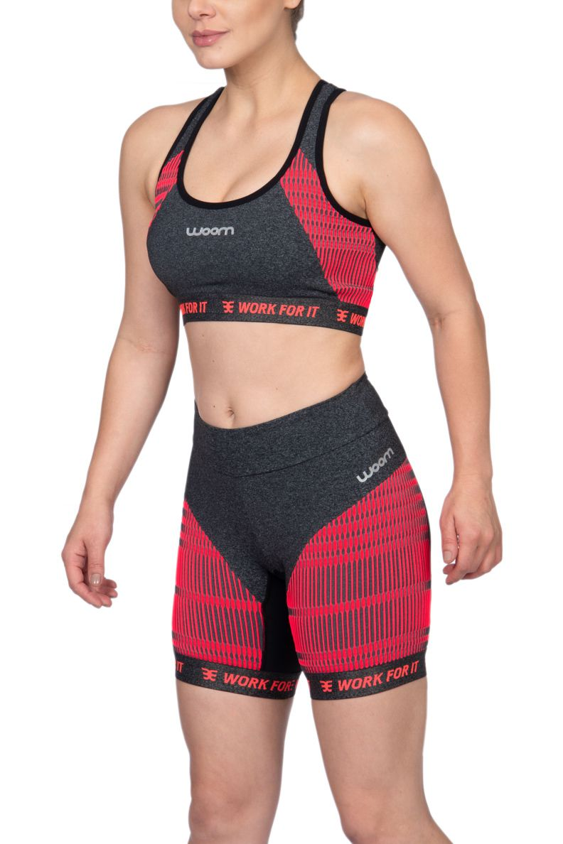 Bermuda Compression X-Fit Mescla e Pink - Fem - 2019