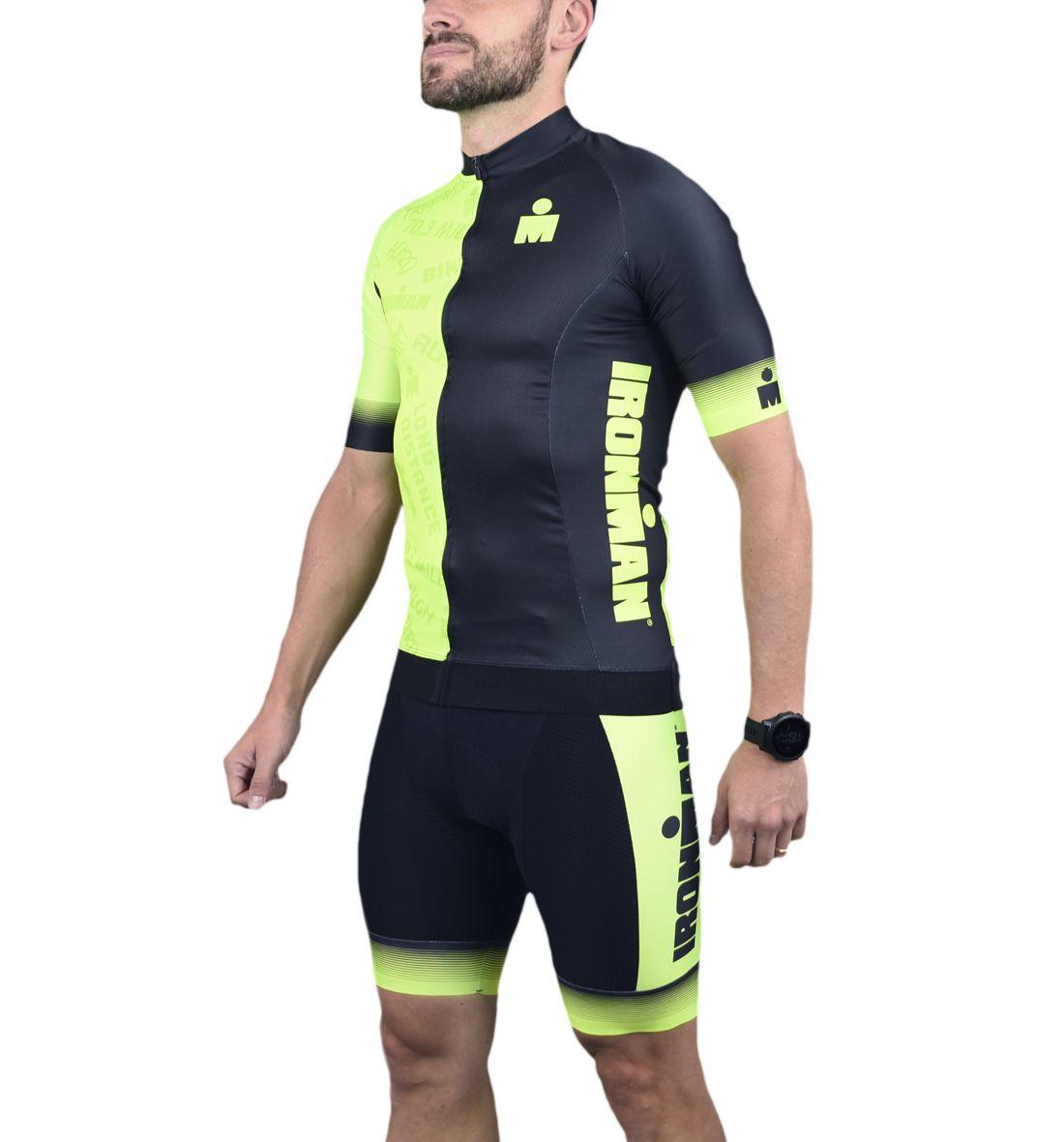 Camisa Ciclismo Masc - Ironman - Preto e verde