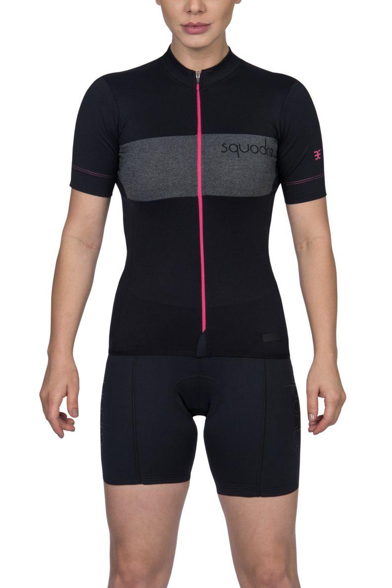 Camisa Ciclismo Squadra Preto e Pink - Fem - 2019