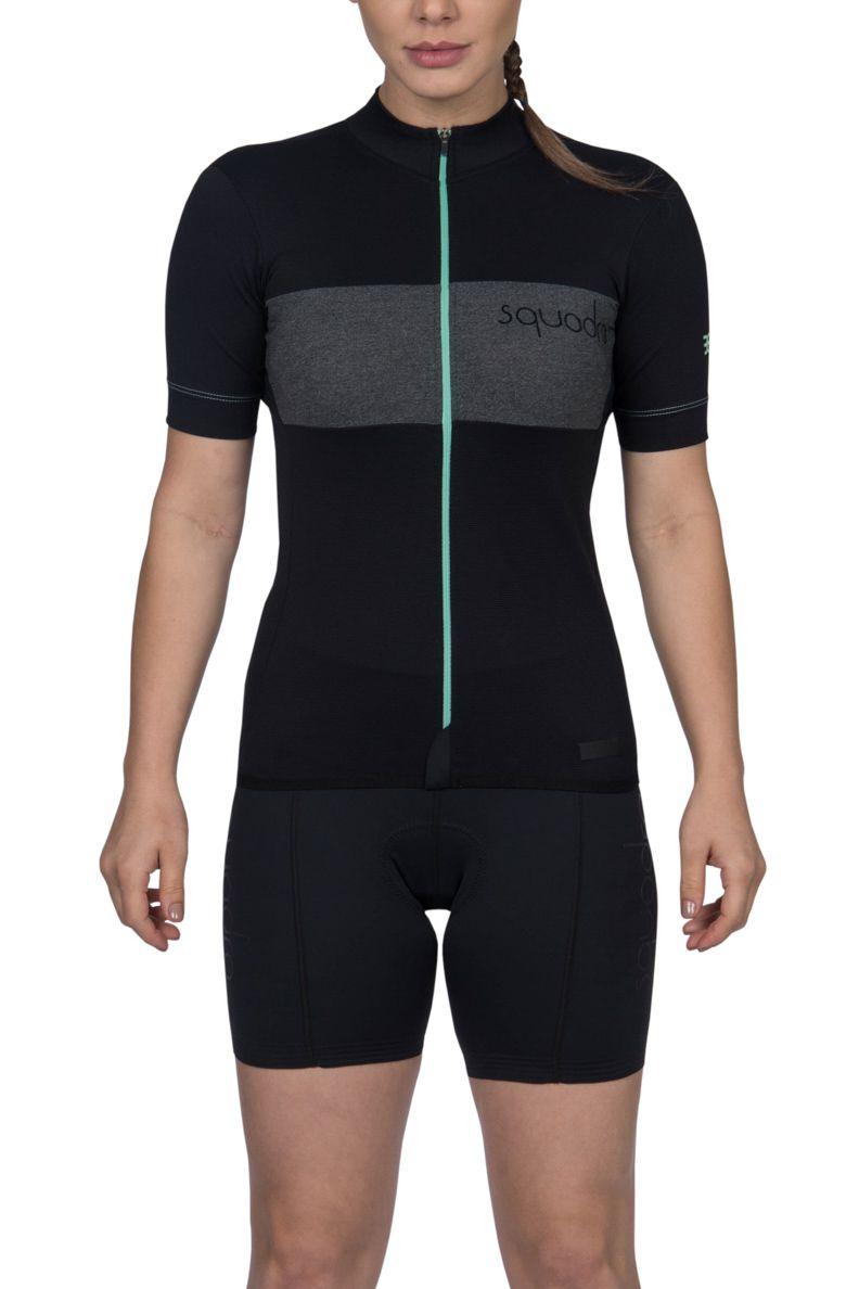 Camisa Ciclismo Squadra Preto e Tiffany - Fem - 2019