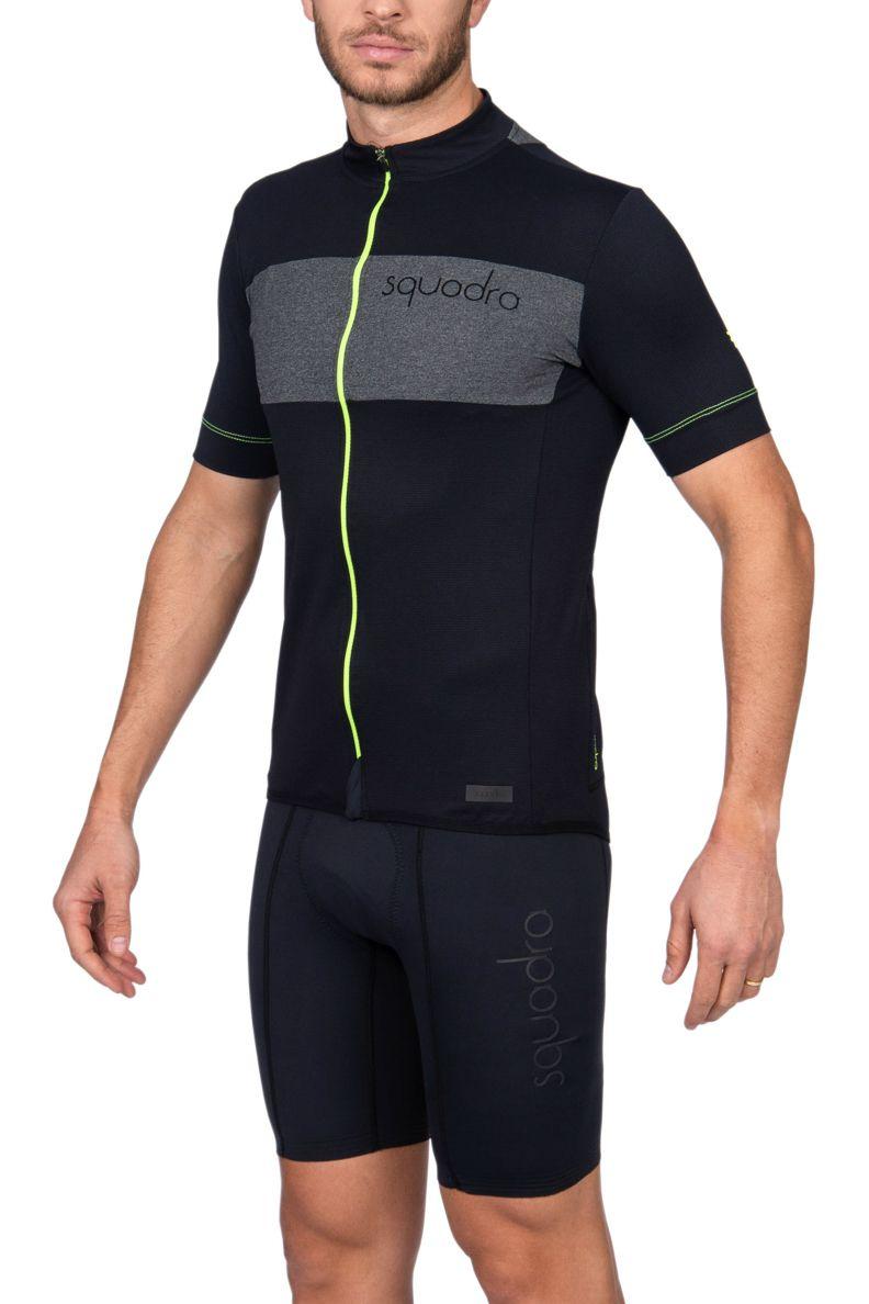 Camisa Ciclismo Squadra Preto e Verde - Masc - 2019