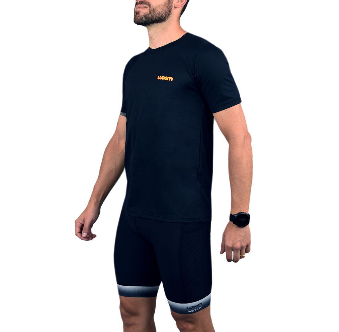 Camiseta Running Masc - Grant - Preto e Laranja