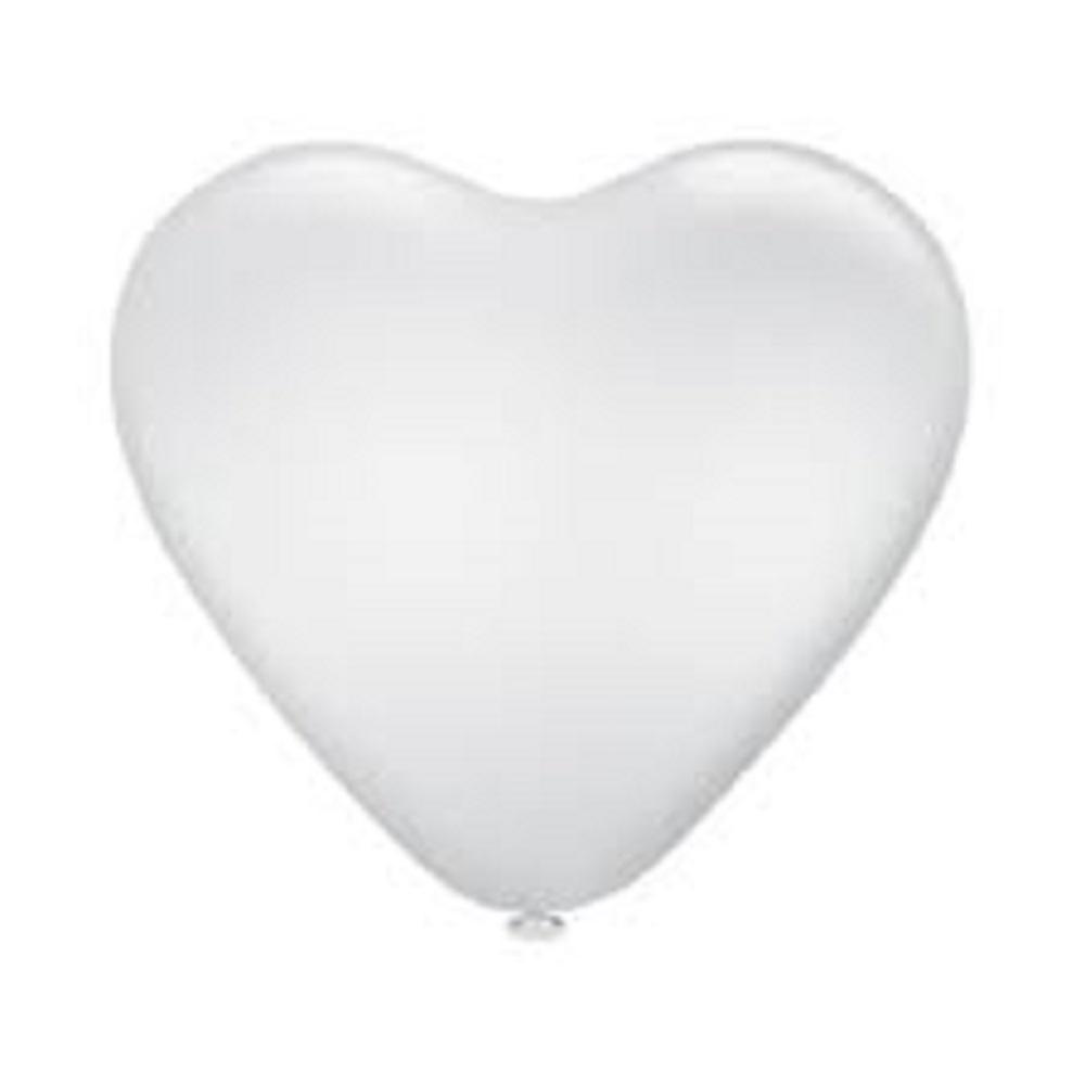 Balão Bexiga Coração Nº 6 Latex Branco Pic Pic C/ 50Un
