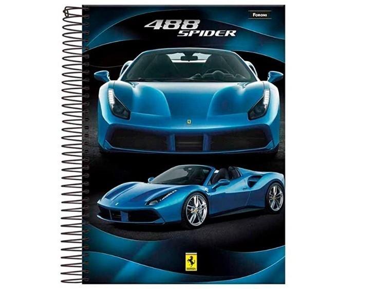 Caderno Espiral C.D. 1 Matéria Ferrari 96 Folhas - Foroni
