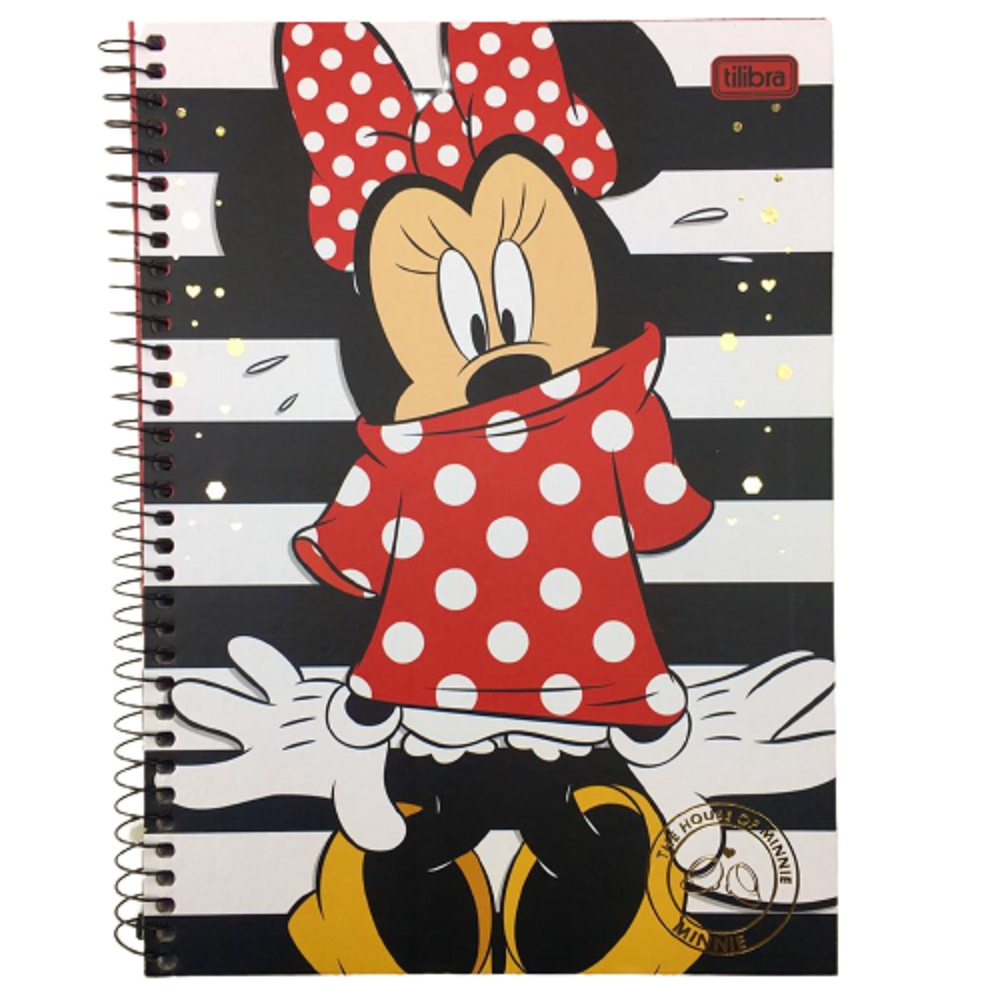 Caderno Espiral C.D. 1 Matéria Minnie Mickey 96 Folhas - Tilibra