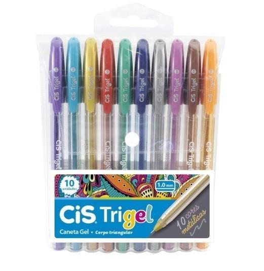 Caneta Gel 1.0 Trigel Metálica 10 Cores - Cis