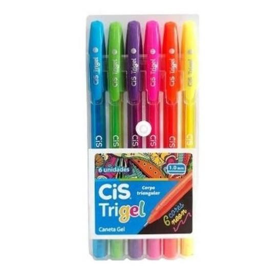 Caneta Gel 1.0 Trigel Neon 6 Cores - Cis