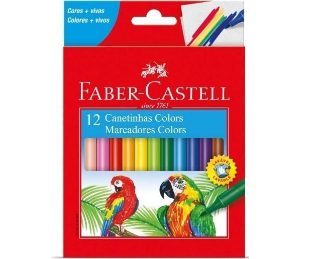 Caneta Hidrografica 12 Cores - Faber Castell (12 Unidades)