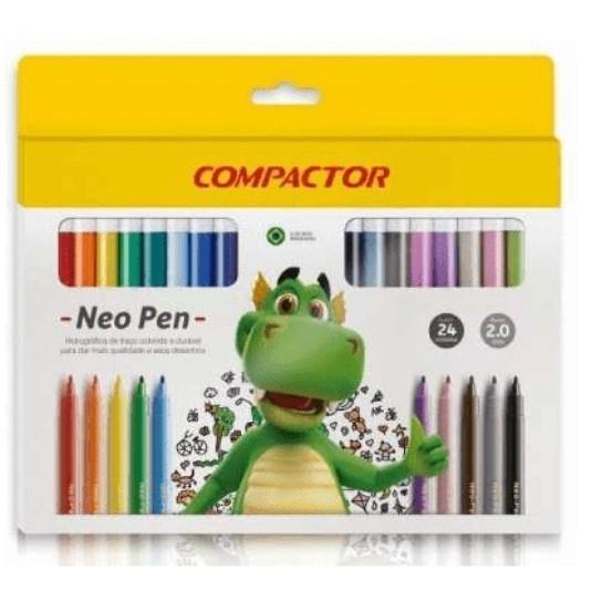 Caneta Hidrografica Neo Pen Gigante 24 Cores - Compactor (5 Unidades)