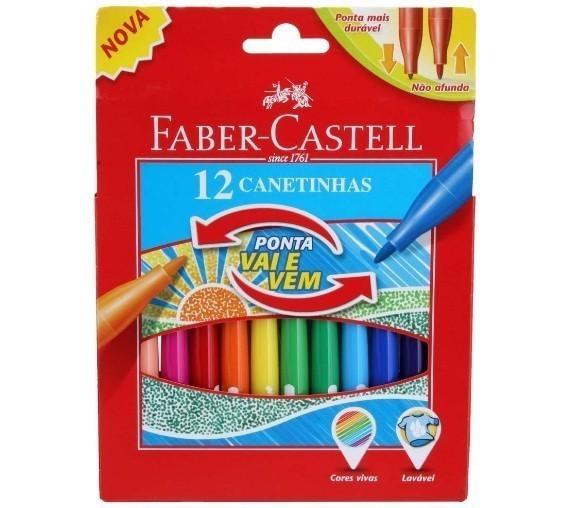 Caneta Hidrografica Ponta Vai e Vem 12 Cores - Faber Castell (12 Unidades)