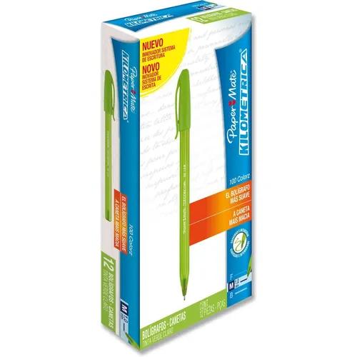 Caneta Kilometrica Color - VERDE CLARO - Paper Mate (12 Unidades)
