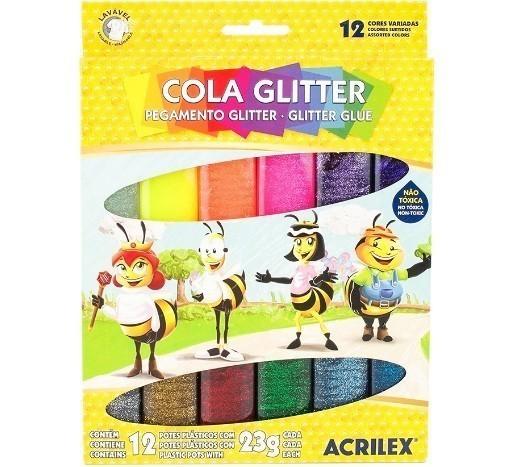 Cola Gliter 23g 12 unidades SORTIDA - Acrilex