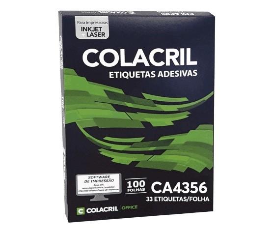 Etiqueta Adesiva A4 CA4356 25,4 x 63,5 mm c/ 100 folhas - Colacril