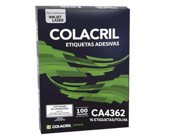 Etiqueta Adesiva A4 Ca4362 34 x 99,1 mm c/ 100 folhas - Colacril