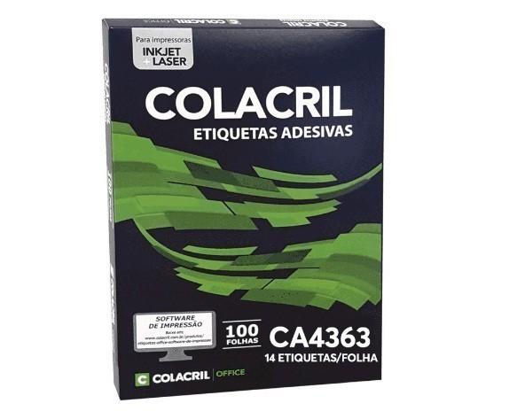 Etiqueta Adesiva A4 Ca4363 38,1x 99,1 mm c/ 100 folhas -  Colacril