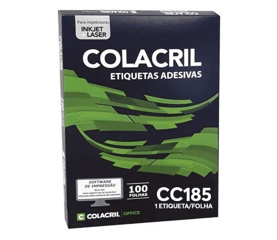 Etiqueta Adesiva Carta Cc185 279,4 x 215,9 mm c/ 100 folhas - Colacril