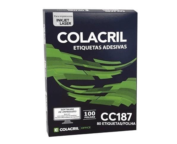 Etiqueta Adesiva Carta CC187 12,7 x 44,45 mm c/ 100 folhas - Colacril