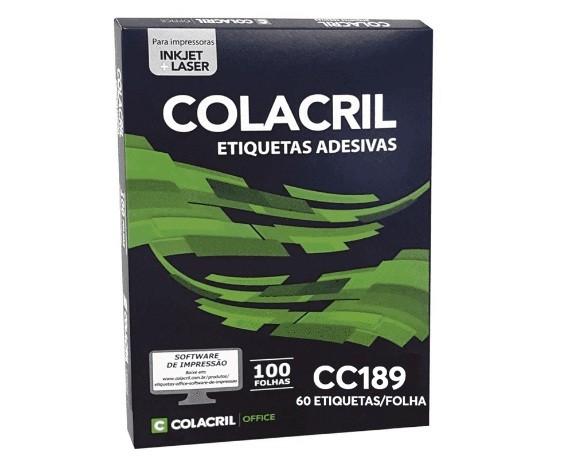 Etiqueta Adesiva Carta Cc189 16,93 x 44,45 mm c/ 100 folhas - Colacril