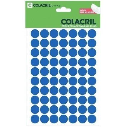 Etiqueta Adesiva Redonda 13mm Azul c/ (420 unidades) - Colacril
