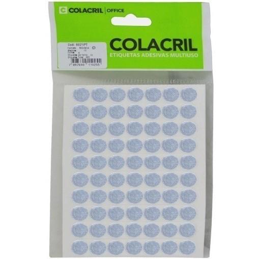 Etiqueta Adesiva Redonda 13mm Prata c/ (420 unidades) - Colacril