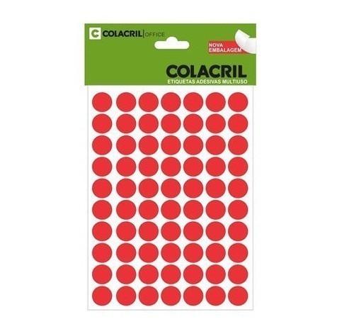 Etiqueta Adesiva Redonda 13mm Vermelha c/ (420 unidades) - Colacril
