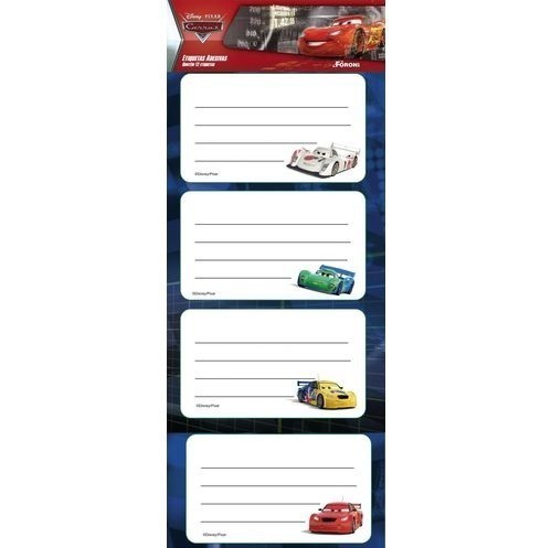 Etiqueta Escolar Carros - Foroni (16 Unidades)