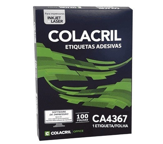 Etiqueta Laser Inkjet A4 Ca4367 210x297 c/ 100 folhas - Colacril
