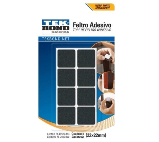 Feltro Protetor Adesivo Quadrado 22mm - TekBond (16 Unidades)