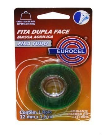 Fita Dupla Face 12mm x 1,5m Massa Acrílica - Eurocel