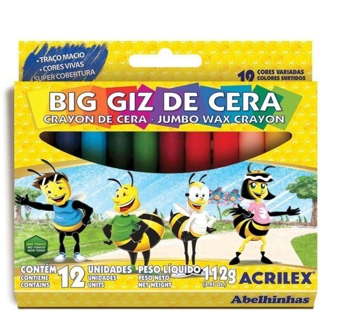 Giz De Cera Gizao 12 Cores Big Giz - Acrilex
