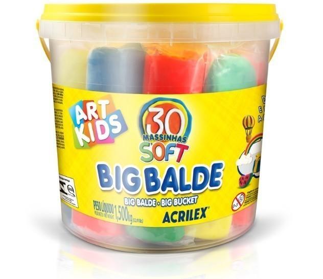 Kit Massinha de Modelar Big Balde - Acrilex (30 Unidades)