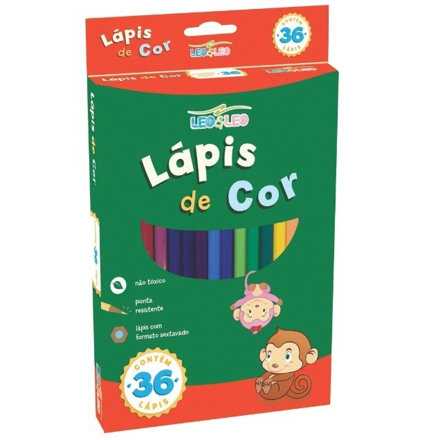 Lapis de Cor Sextavado 36 cores - Leo - Leo