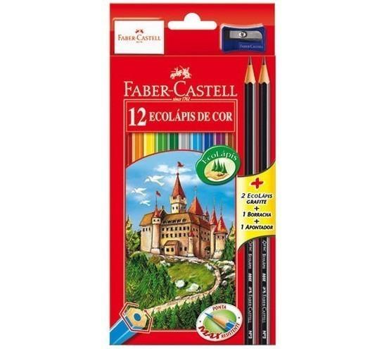 Lápis de Cor Sextavado Ecolapis 12 Cores (12 Unidades) - Faber-Castell