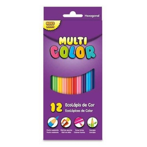 Lápis de Cor Sextavado Multicolor Super Eco 12 Cores (12 Unidades) - Faber-Castell